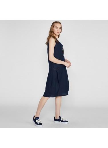 Vekem-Limited Edition Sıfır Kol Cep Detaylı Rahat Kesim Elbise Lacivert
